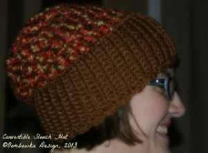 Convertible Slouch Hat Pattern. Oombawka Design Crochet.