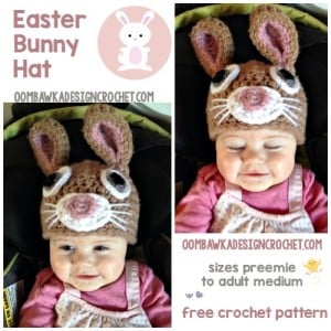 Free Crochet Bunny Hat Pattern in multiple sizes from Oombawka Design Crochet