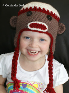 Sock Monkey Hat Pattern. Oombawka Design.