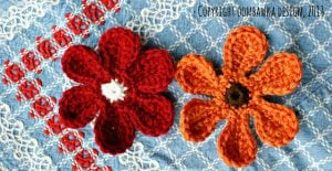Colorful Yarn Flower Daisy Pattern. Oombawka Design.