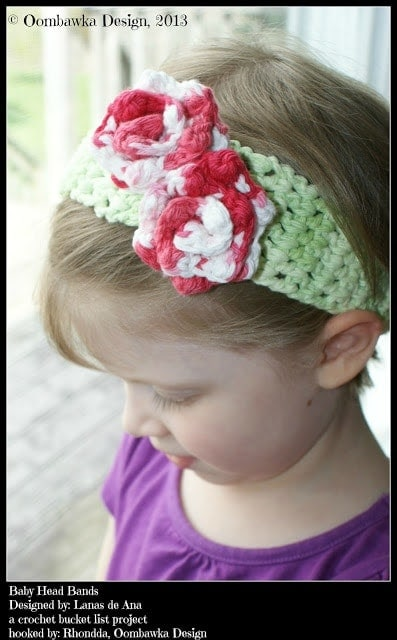 Crochet Rose and Baby Head Band Patterns