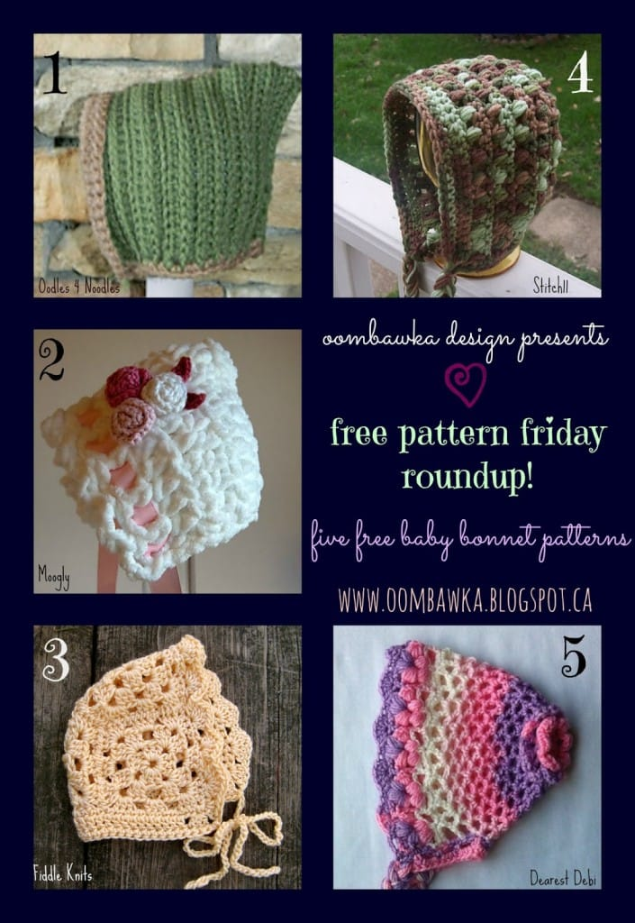 5 Free Patterns for Newborn Baby Bonnets. Crochet Pattern Roundup.