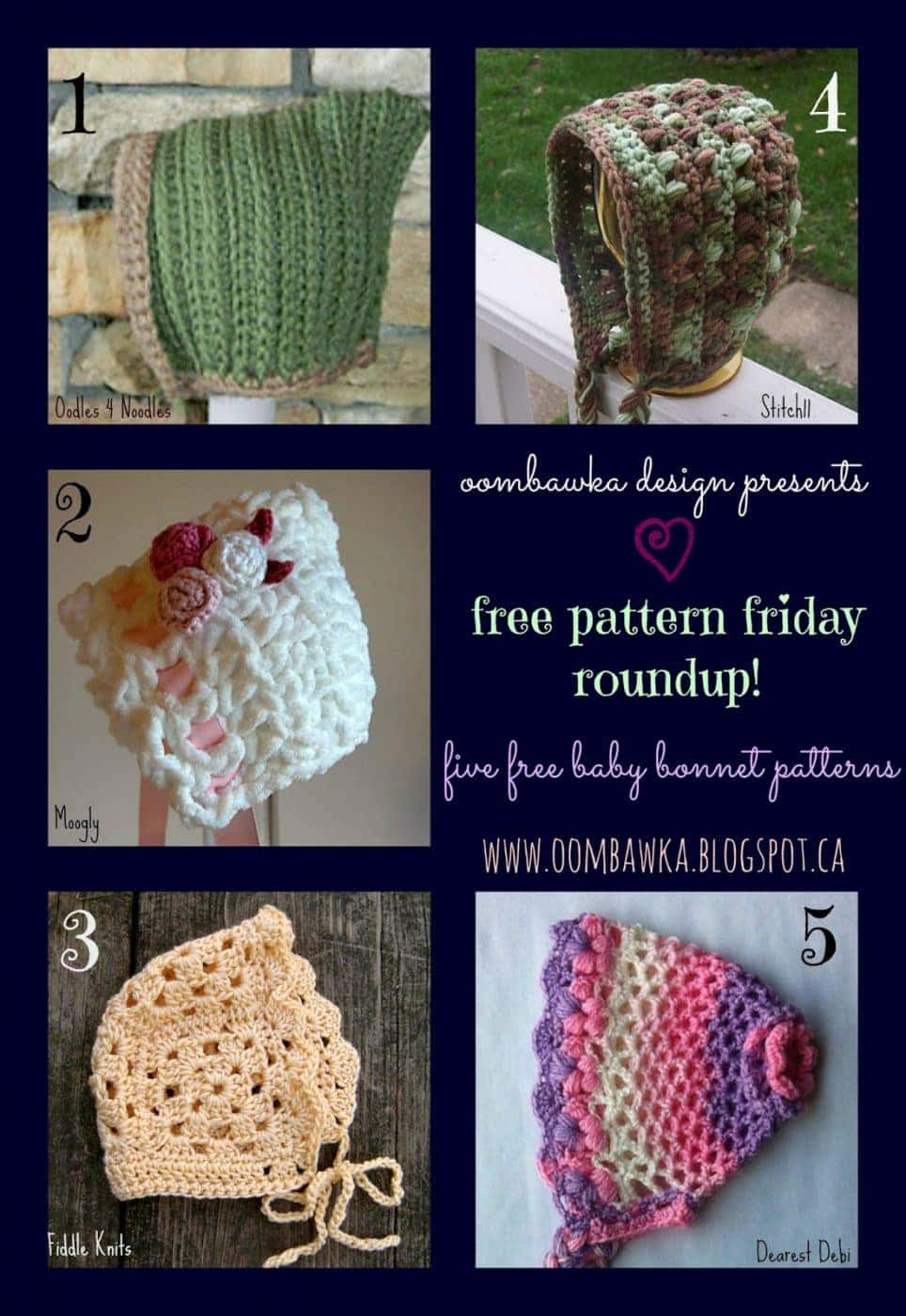 Free Pattern Friday Roundup! (3) Baby Bonnets Oombawka ...