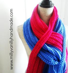 Crochet Chiavetta Scarf MillyVanilly Handmade. Oombawka design Crochet.
