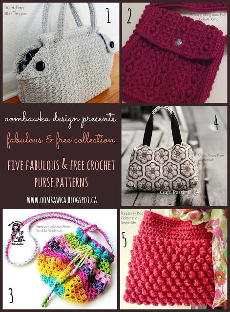 Five Fabulous and Free Crochet Purse Patterns. Oombawka Design Crochet. Free Pattern Roundup.