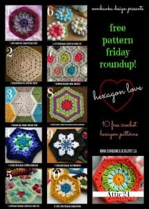 10 Hexagon Crochet Patterns. Free Crochet Pattern Roundup. Oombawka Design.