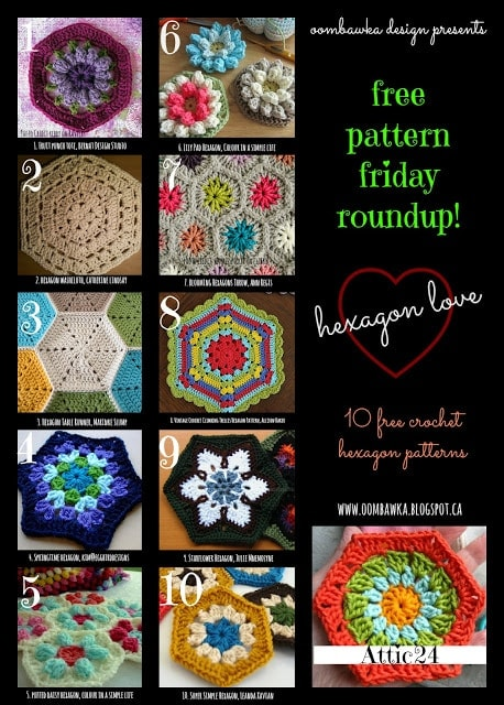 10 free Hexagon Crochet Patterns