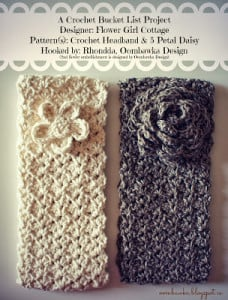 Crochet Headband and 5 Petal Daisy Oombawka Design Crochet Bucket List Project.