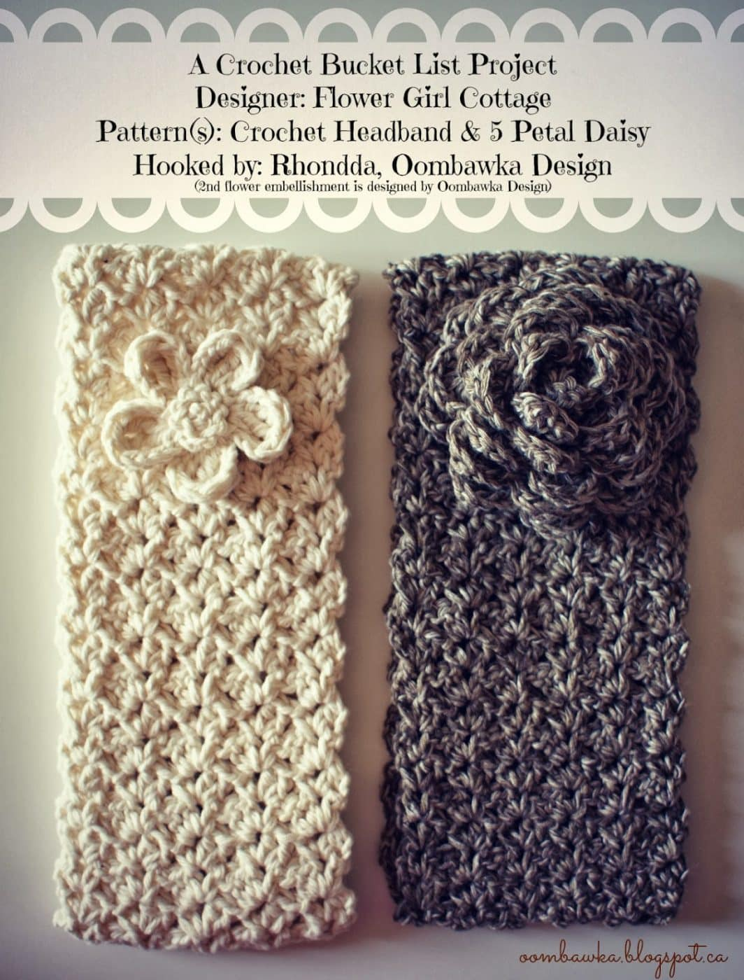 Free Crochet Pattern Flowers Headbands : Oombawka Design *Crochet*
