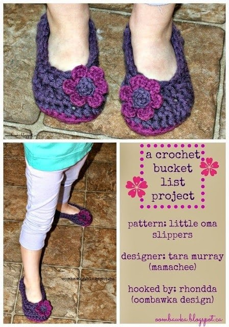 crochet bucket list project featuring little oma slippers by tara murray