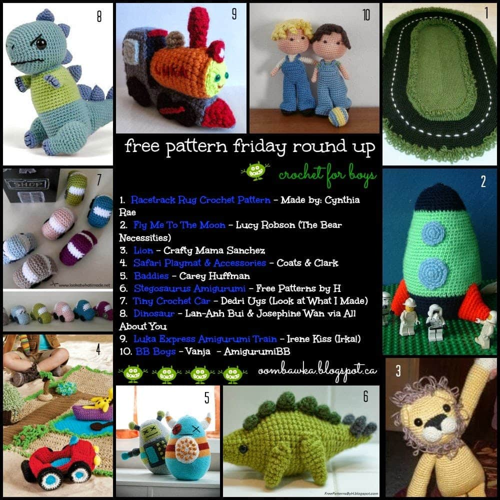 Dinosaurs Spaceships Robots And Cars10 Crochet Patterns For Boys