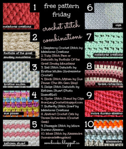 10 Trendy Stitch Pattern Combinations. Crochet Pattern Roundup. Oombawka Design.
