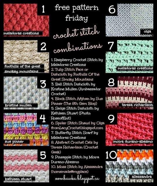 Crochet Stitch Combinations. Try one of these stitch patterns to crochet a blanket or dishcloth!