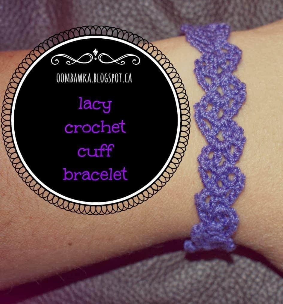 Lacy Crochet Cuff Bracelet - Free Crochet Pattern • Oombawka Design ...