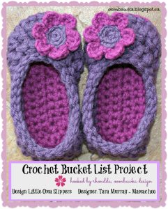 Little Oma Slippers. Mamachee Pattern. Oombawka Design Crochet Bucket List Project.