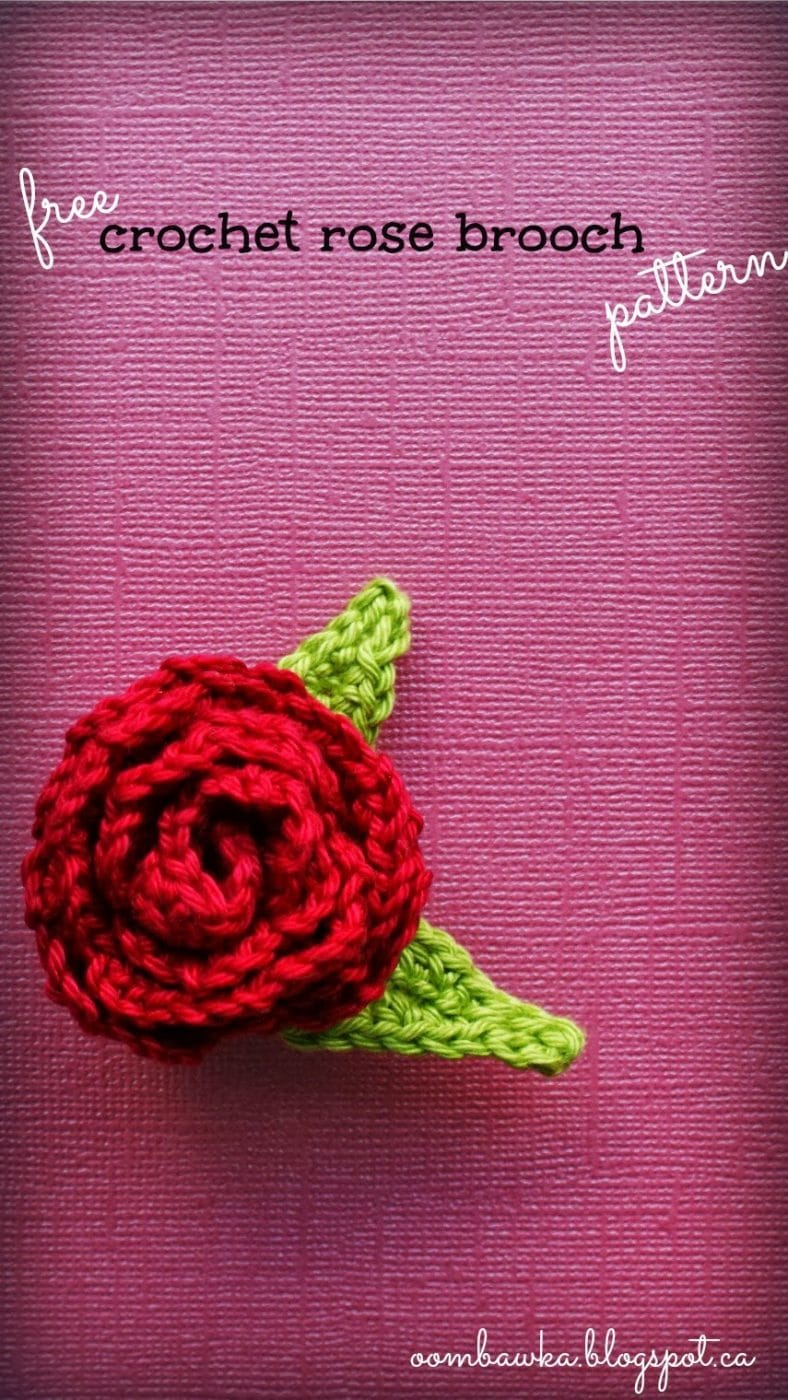 Free Crochet Pattern - Rose Brooch with Leaves Oombawka ...