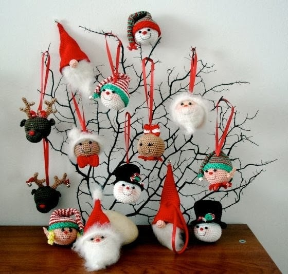 christmas ornaments amigurumibbs collection photo credit vanja of amigurumibb - Free Crochet Christmas Ornament Patterns