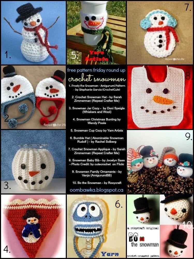 10 Free Snowman Patterns