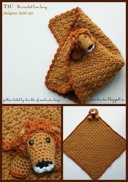 crochet lion lovie tested by oombawka design