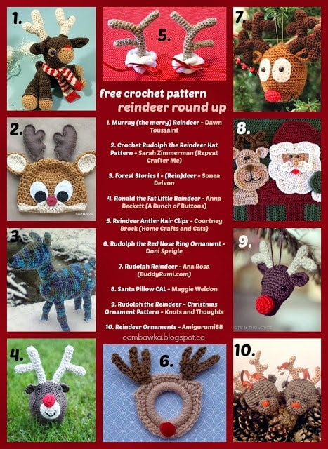 Free Crochet Reindeer Patterns - Toys, Hats, Pillows, Ornaments, Antlers