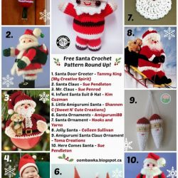 10 Santa Crochet Patterns. Free Pattern Roundup. Oombawka Design Crochet.