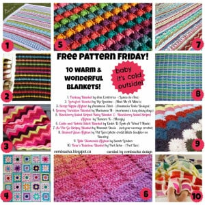 10 Warm Blanket Patterns. Free Crochet Pattern Roundup. Oombawka Design.