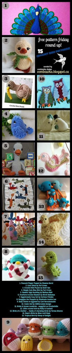 Crochet Bird Patterns - All Free - As seen on oombawkadesigncrochet.com