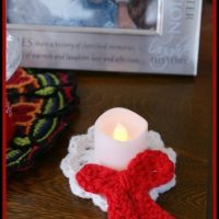 Holiday Candle Holder, Christmas Tree Ornament and Wreath Brooch with Bow