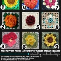 9 Beautiful Flower Afghan Square Crochet Patterns. Free Pattern Roundup. Oombawka Design.