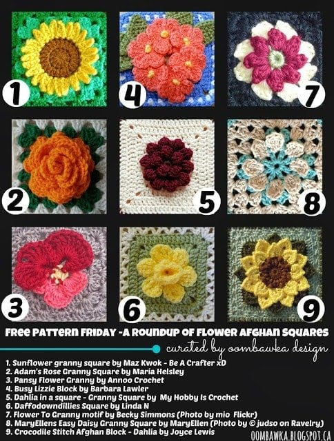 Flower Afghan Squares Round Up - as seen on oombawkadesigncrochet.com