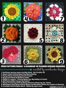 9 Beautiful Flower Afghan Square Patterns. Free Pattern Roundup. Oombawka Design.