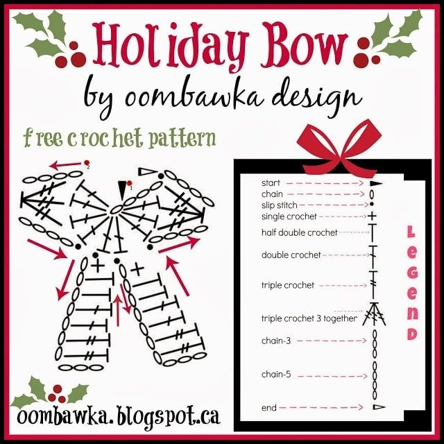 Charted Version of Holiday Bow Pattern Oombawka Design