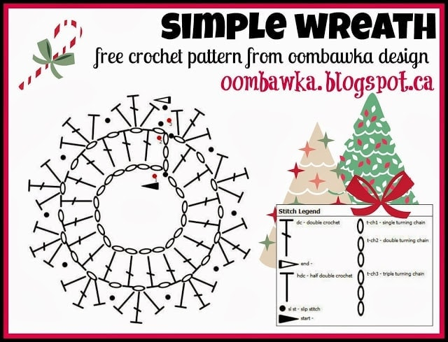 Simple Wreath Crochet Pattern oombawkadesigncrochet.com