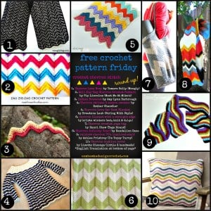 10 Trendy Zig Zag Crochet Chevron Stitch Patterns. Free Pattern Roundup. Oombawka Design.