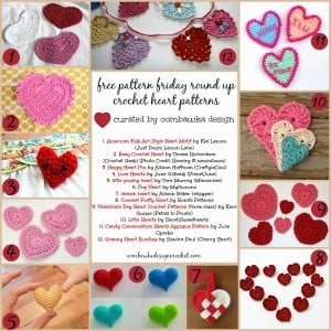 12 Lovely Heart Crochet Patterns. Free Pattern Roundup. Valentine's Day Crochet. Oombawka Design.