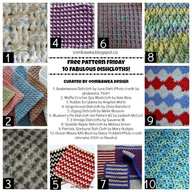 10 Fabulous Free Dishcloth Patterns. Crochet Pattern Roundup.