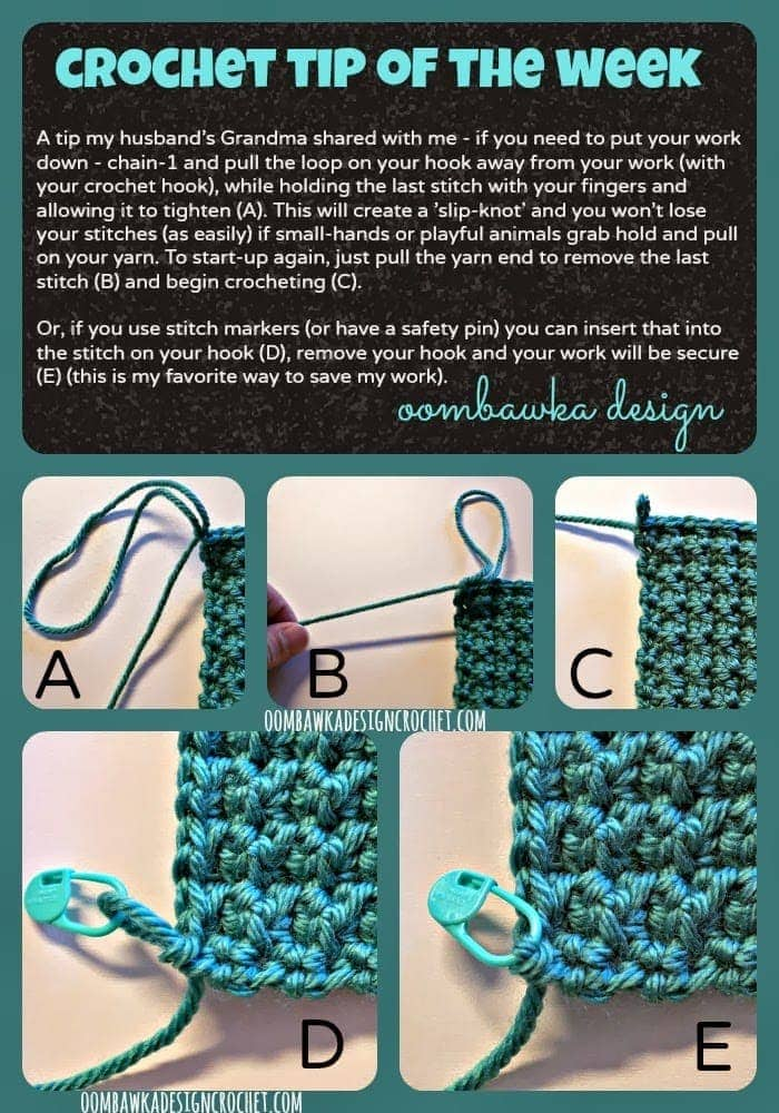 Crocheting Tips : Crochet Tip of the Week - Secure Your Work ? Oombawka Design Crochet