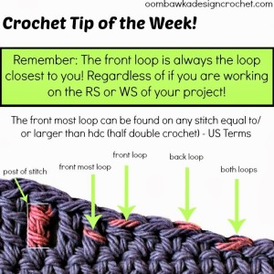 Crochet Tip of the Week. Where is the front loop. Oombawka Design.
