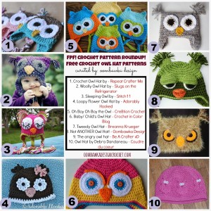 10 Owl Hat Crochet Patterns. Free Pattern Roundup. Oombawka Design.