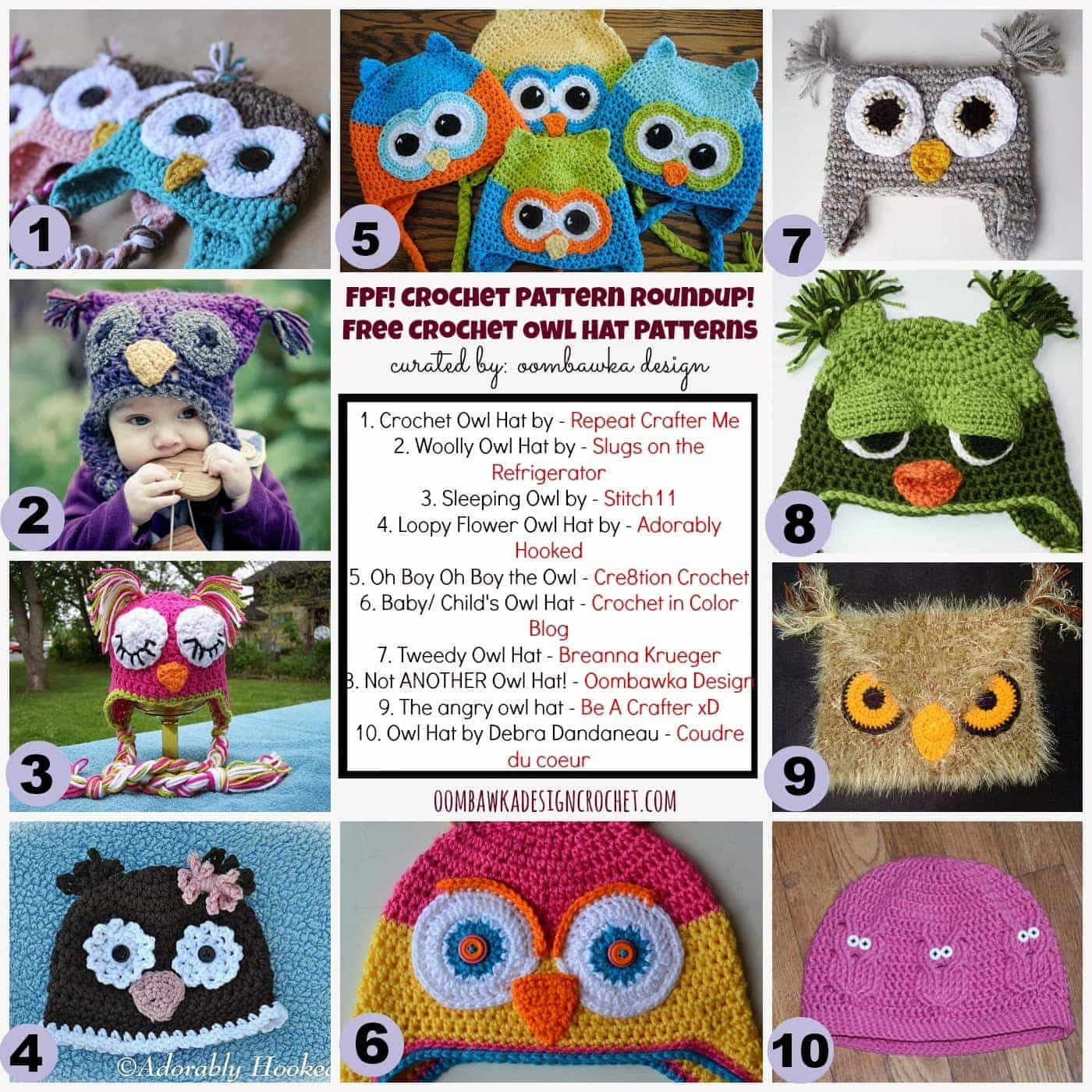 Crochet Owl Hat Patterns Round Up