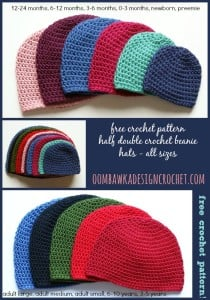 Half Double Crochet Beanie Pattern. Free Pattern for Hats. Baby, Toddler, Child, Teen and Adult Hat Patterns. Oombawka Design.