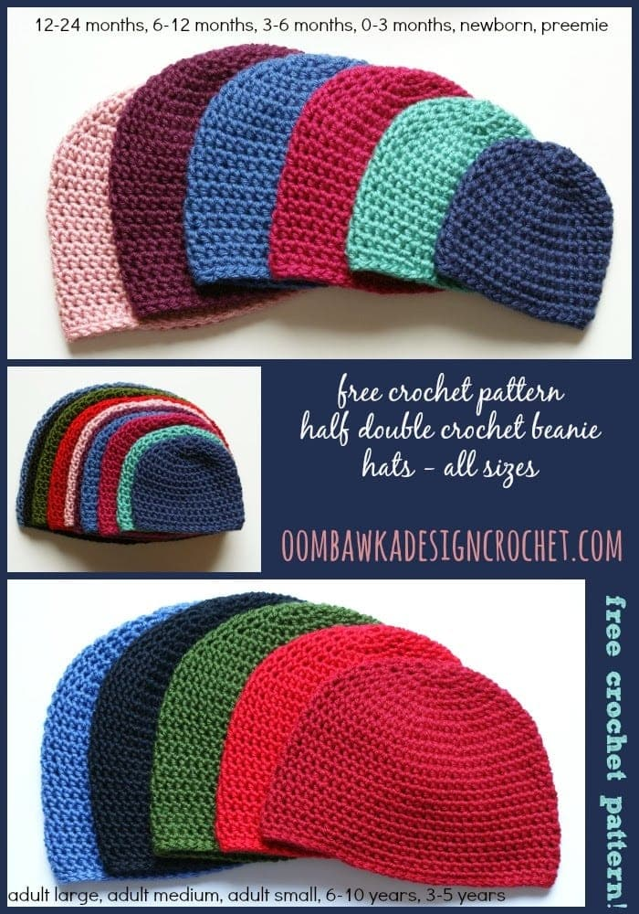 Half Double Crochet Hat Pattern Oombawka Design Crochet