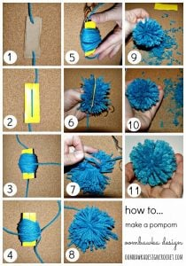 Pompom Tutorial. Make them the old fashioned way. Oombawka Design.