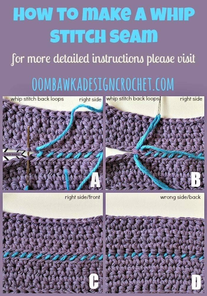 How To Join Crochet With A Whip Stitch Seam Oombawka