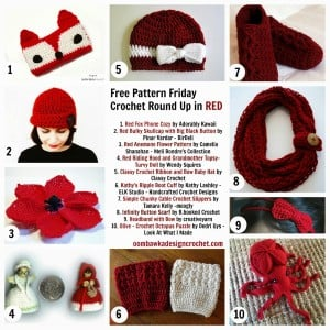 10 Ravishing Crochet Patterns. Free Pattern Roundup. Crocheted in Red Yarn. Oombawka Design.