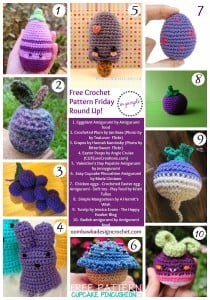 10 Fun Food Crochet Patterns. Free Pattern Roundup. Purple Yarn. Oombawka Design.