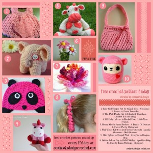 10 Pretty Patterns to Crochet. Free Pattern Roundup. Crocheted in Pink Yarn. Oombawka Design.