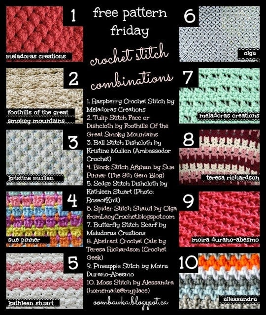 Free Pattern Friday Round Up Crochet Stitch Patterns Try one of these stitch patterns to crochet a blanket or dishcloth!