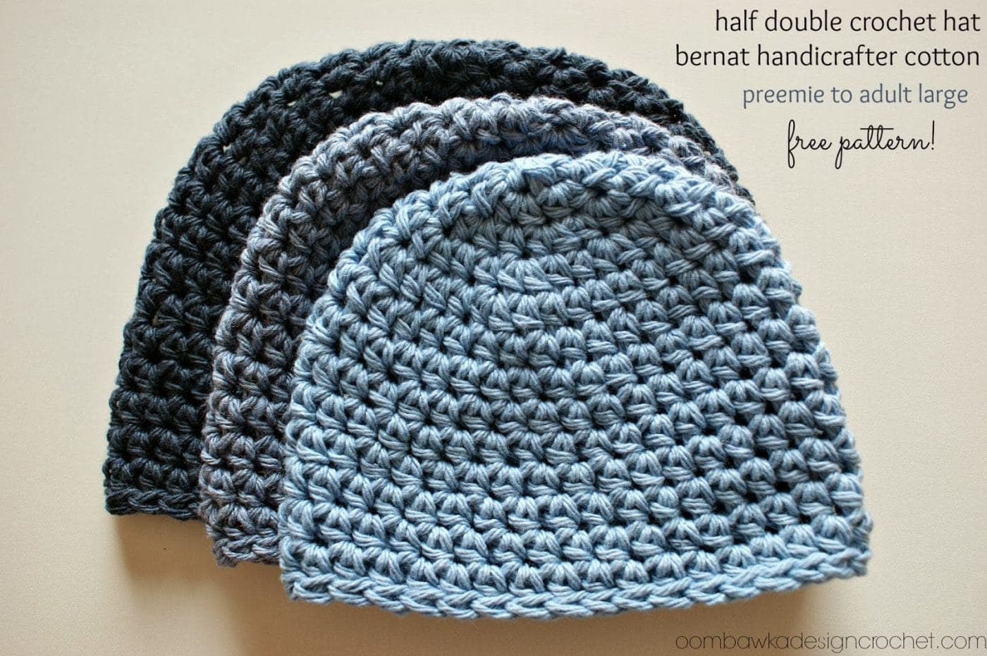 Free Crochet Pattern With Thread : Half Double Crochet Hat Pattern #2 Free Pattern Oombawka ...