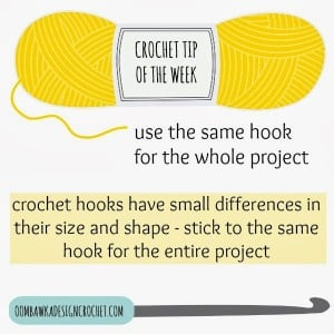 Crochet Tip of the Week. Use the same hook. Oombawka Design.